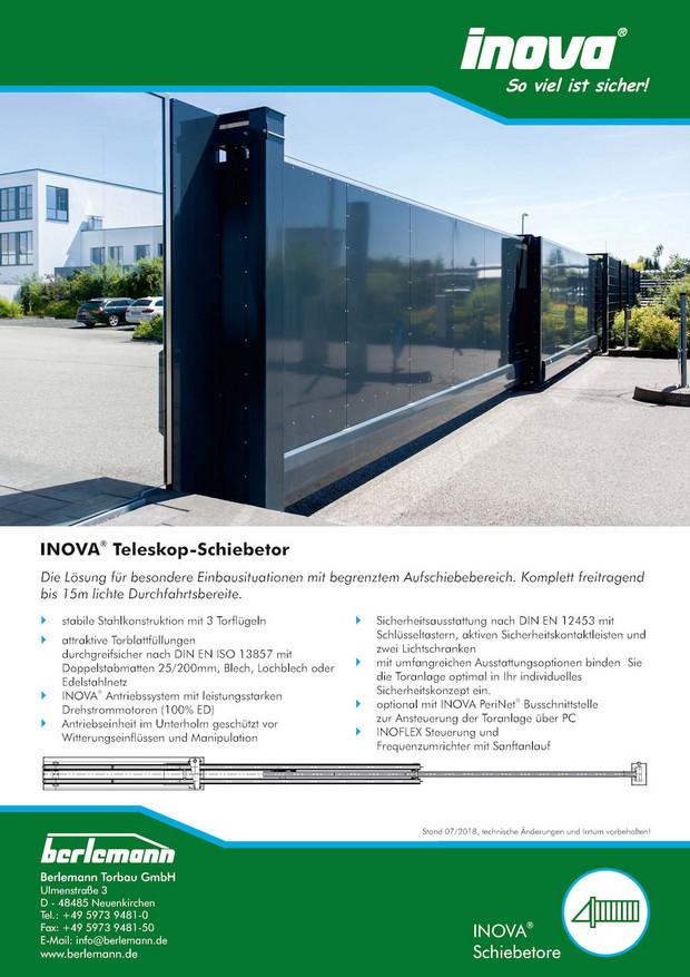 Prospekt INOVA Teleskopschiebetor von Berlemann Torbau GmbH