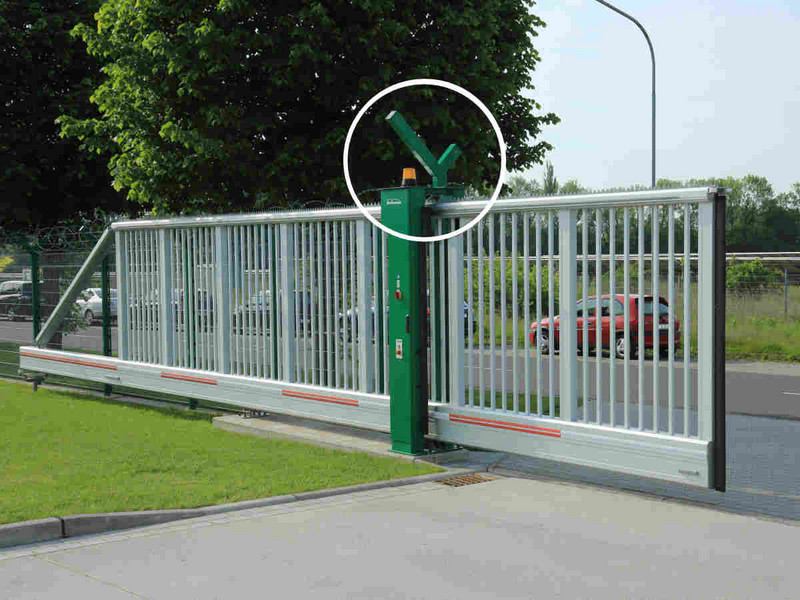 security fence with integrated sliding gate