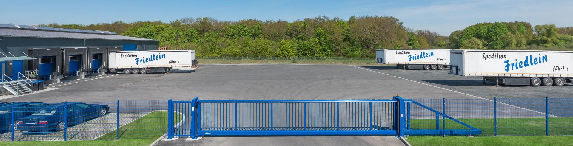 Schiebetor INOVA blau Ansicht von oben