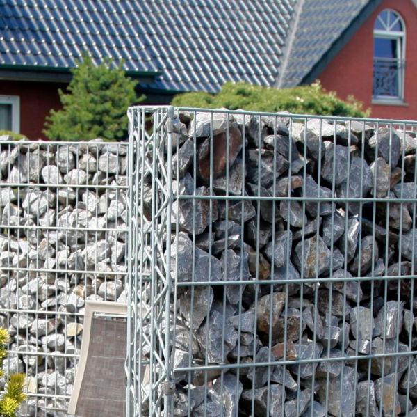 Gabionenwand INOVA Feuerverzinkt Seitenansicht von Berlemann Torbau GmbH