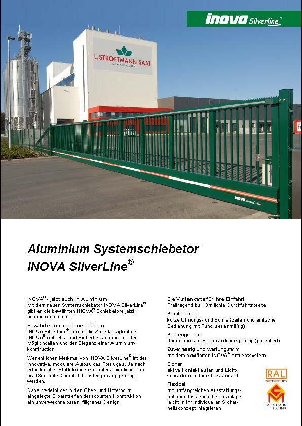 Prospekt INOVA Aluminium Schiebetor SilverLine von Berlemann Torbau GmbH