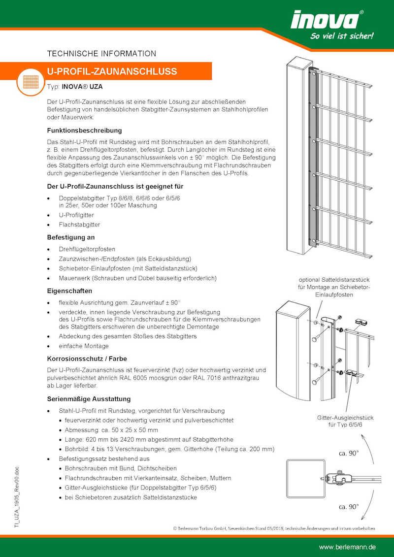 U-Profil Zaunanschluss (UZA)